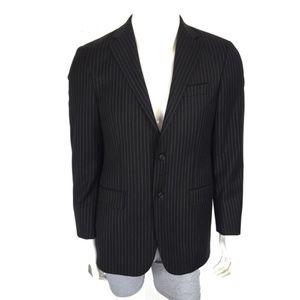 Hickey Freeman Blazer Size 38 Wool Striped Black